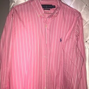 Pink and whit stripe polo dress shirt